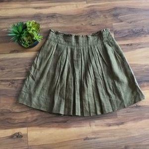 J. Crew Olive Green A-Line Full Midi Skirt